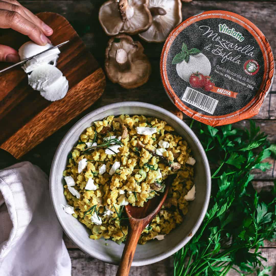 Risotto de Mozzarella de Búfala, Shitake e Alecrim com Mozzarella de Bufala Vitalatte Média